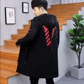 2018春季新款青少年高中学生中长款风衣男韩版修身帅气潮流薄外套