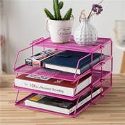 Creative desktop multi-layer A4 file holder metal data frame folder rack office file storage rack