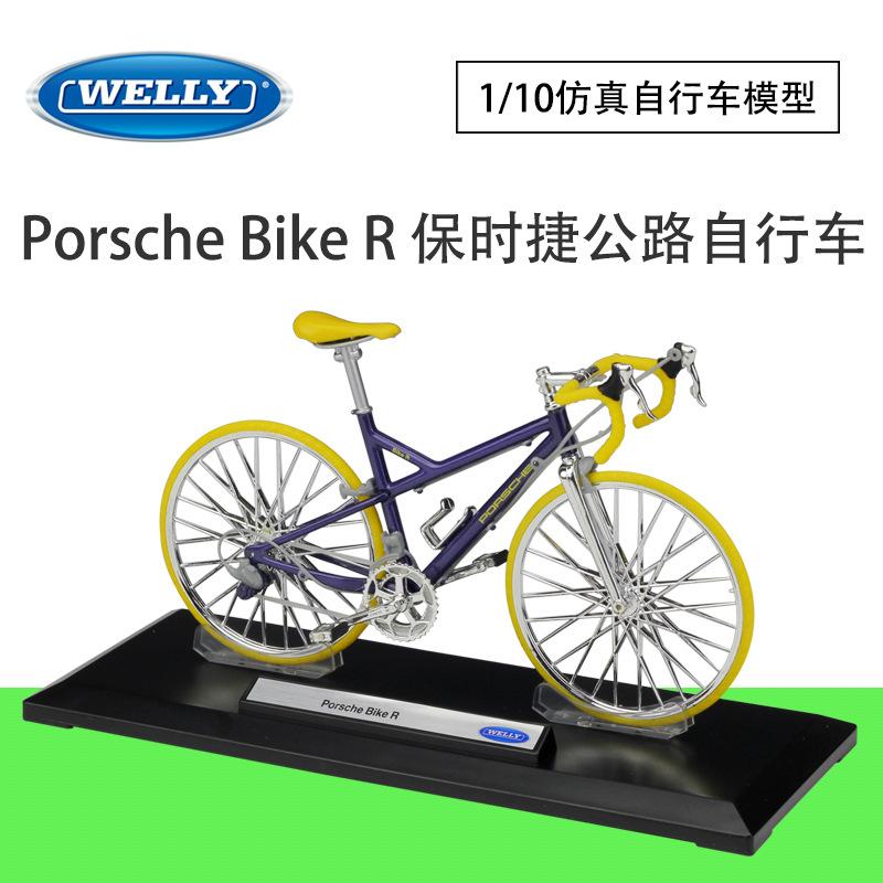 WELLY威利1:10保时捷奥迪自行车仿合金模型成人收藏摆件