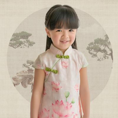 夏款儿童旗袍唐装 女童宝宝短袖连衣裙 荷花印花雪纺中国风亲子装