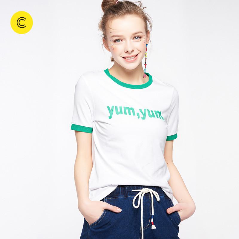 2018春新款 cachecache 休闲短袖T恤女条纹字母时尚百搭小清新女