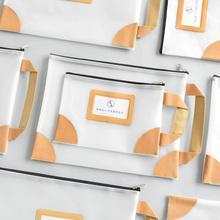 尼家文具A4透明硅胶文件袋简约可插卡片资料收纳袋学生手提试卷袋