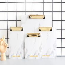 尼家轻奢北欧风大理石纹A4板夹A5文件夹板A6写字板夹点餐垫票据夹