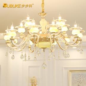 创意欧式锌合金玉石水晶吊灯客厅灯奢华大气卧室餐厅蜡烛简欧灯具