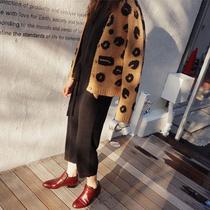 18春秋韩版新款豹纹V领短款时尚上衣针织衫毛衣开衫宽松外套女潮