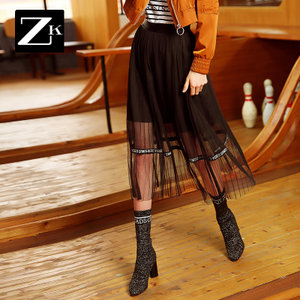 ZK黑色网纱字母印花拼接半身裙女中长款百褶裙子2018年春季新款