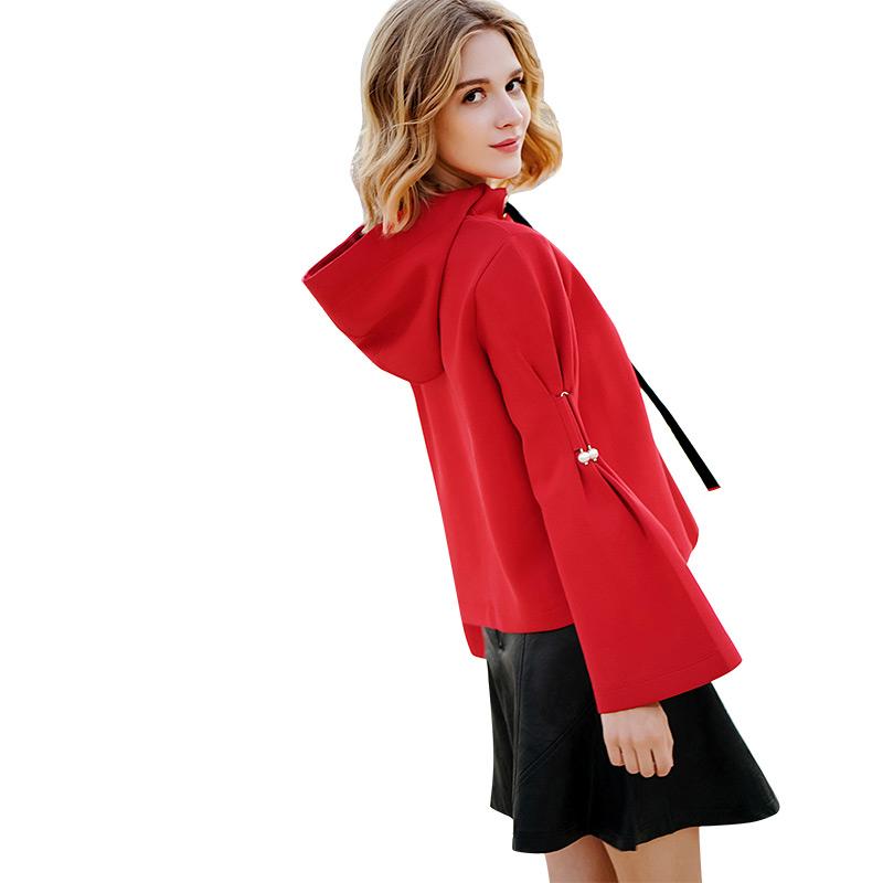 ZK红色连帽卫衣女短款超火的cec喇叭袖宽松上衣2019春秋新款韩版
