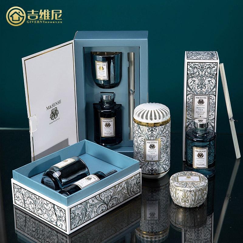样板间样板房卧室客厅室内卫生间香味香氛天然白茶香薰蜡烛精油