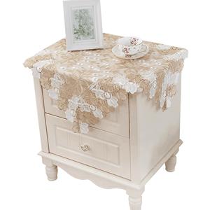 泰绣茶几桌布欧式蕾丝餐桌台布布艺盖布床头柜玻璃纱圆桌小桌布