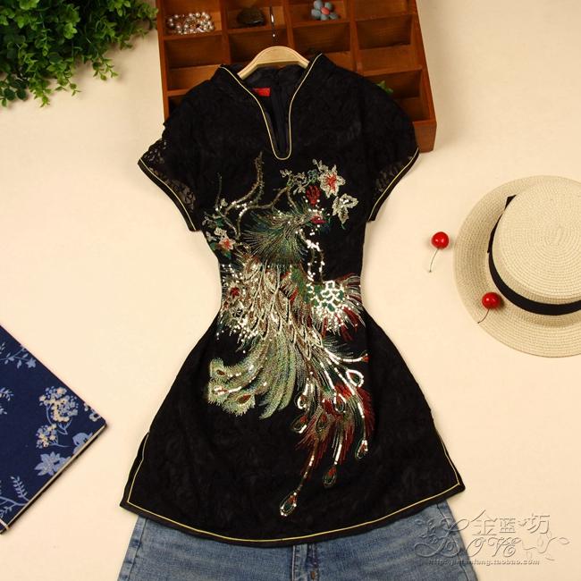中式刺绣短袖衫