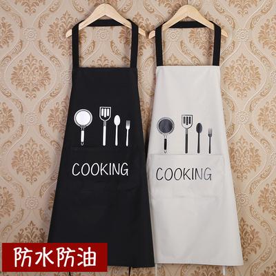 厨房围裙韩版时尚防水防油男女成人罩衣工作服定制logo印字包邮