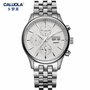 卡罗莱全自动机械表皮带男士手表男表防水钢带六针商务腕表CA1112