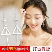 纯银耳环S999纯银女正品女款千足小清新耳线几何长勾耳坠耳饰弯钩