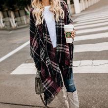 亚马逊爆款 撞色格子流苏针织衫 披肩外套 2019秋冬新款 欧美毛衣开衫图片