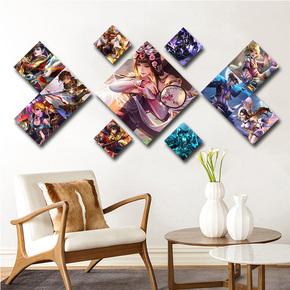 菱形王者荣耀组合挂画主题网咖手游馆奶茶店壁画装饰画游戏宣传墙