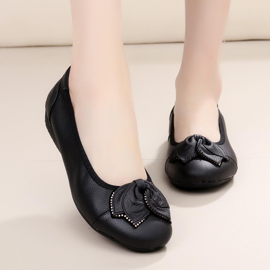 平跟牛皮软底鞋