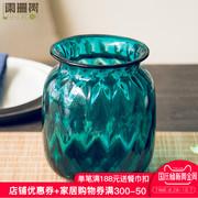 阑珊树-蓝色琉璃花瓶 现代简约餐桌装饰客厅玻璃花瓶摆件