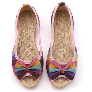 新款老北京凉鞋夏季女布鞋防滑浅口坡跟孕妇休闲妈妈平底单亚麻潮