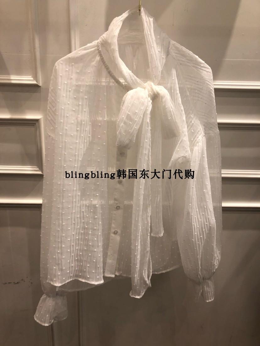 blingbling韩国东大门代购TOPDRESSING-P透明蕾丝波点蝴蝶结衬衫