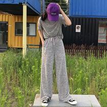 韩版百搭短袖t恤+宽松显瘦休闲运动长裤+松紧高腰阔腿短裤女套装
