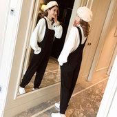 时尚 孕妇冬装 套装 秋冬季加绒加厚宽松毛衣背带裤 两件套 2018新款