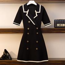 夏季新款大码女装微胖mm撞色西装领双排扣冰丝针织短袖连衣裙