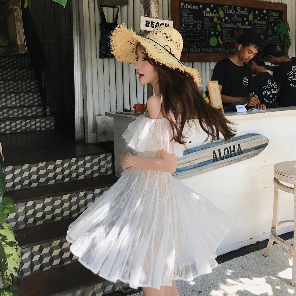 重工网纱连衣裙