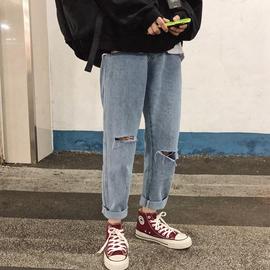 @港仔文艺男 潮牌男士破洞牛仔裤春季韩版潮流长裤bf九分直筒裤子图片