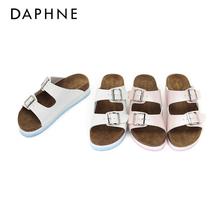 Daphne/达芙妮夏新舒适厚底拖鞋 撞色皮带扣露趾女鞋1017303082图片