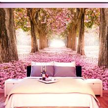 樱花墙纸大型壁画3d立体个性墙纸壁纸电视卧室床头粉色温馨背景墙
