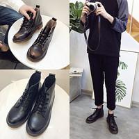 夏季马丁靴男高帮黑色中帮皮鞋韩版潮百搭英伦风复古工装短靴春季