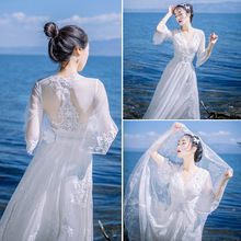 Spring and summer mesh bohemian lace dress slim slimming seaside holiday beach skirt big show back long skirt