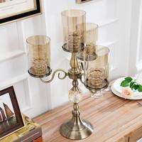 新古典家居奢华玻璃烛台美式客厅餐桌摆件欧式餐厅样板房软装饰品