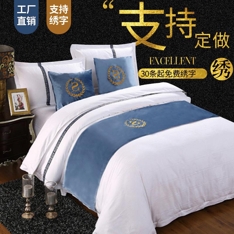 床旗床尾巾批发酒店宾馆高档中式欧式奢华卧式家用简约现代床盖