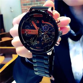北欧防水大表盘手表男 时尚潮流男士钢带石英表 创意学生商务腕表