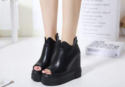 厚底内增高鱼嘴短靴新款单鞋松糕鞋坡跟超高跟韩版休闲舒适女鞋潮