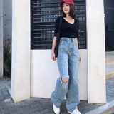 2019 spring new Korean version of the retro wash hole plus long wide-legged trousers high waist skinny pants women's jeans