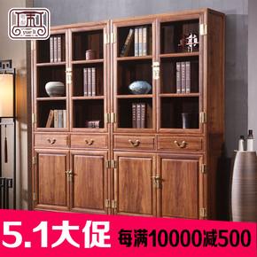 红木实木家具 新中式刺猬紫檀素面单个书柜 书橱书架储物柜展示柜