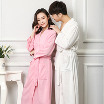 Summer thin section Waffle couple bathrobe female summer hot spring bathrobe plus size SPA dressing gown male pajamas spring and autumn