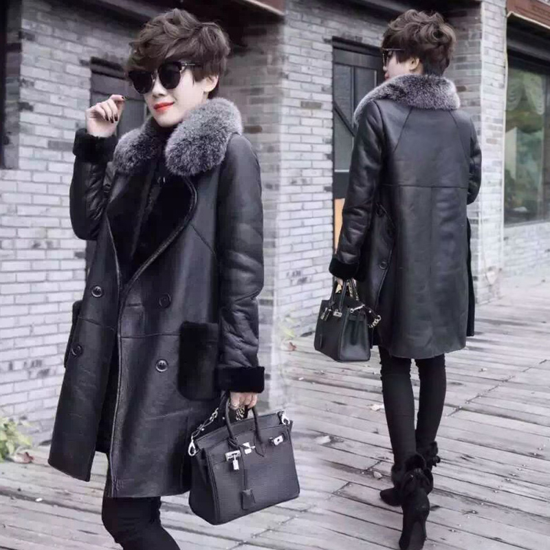 fur one lamb cash fur 200 kg large size coat female new large size women's lamb lamb coat jacket 2017 winter new Korean version of the long section of sheepskin velvet skin 2017 Autumn and winter new middle-aged women in the long rabbit fur fur collar