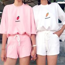 运动套装女夏2019新款时尚学生宽松短袖短裤跑步服纯棉休闲两件套