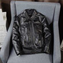 Amika American casual top leather leather jacket for men's short locomotives with lapels and skinny jackets