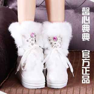 手工缝钻白色兔毛冬季保暖欧洲站内增高短靴雪地靴水钻厚底女靴子