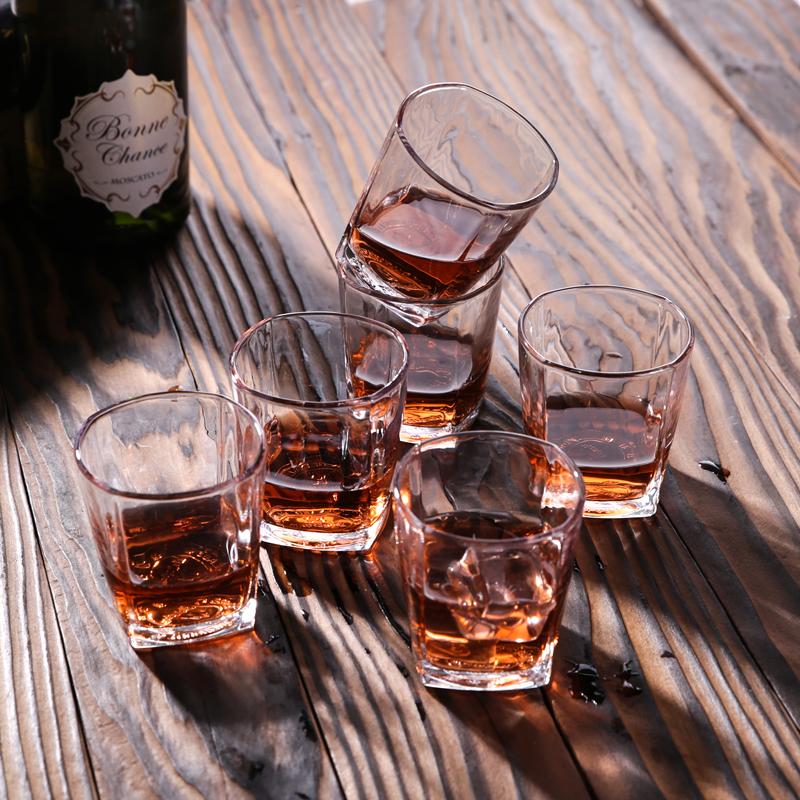 白酒洋酒啤酒高脚杯子弹红酒2个玻璃家用套装一口八角威士忌杯