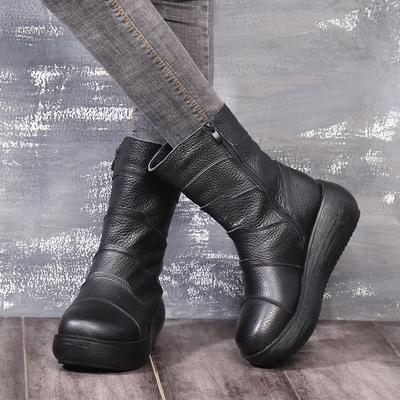 女靴冬季新款2018百搭真皮中筒靴女坡跟防水台圆头厚底牛皮短靴子