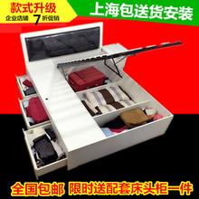 简约现代板式高箱气动储物床1.8米双人床带抽屉收纳床1.5米液压床