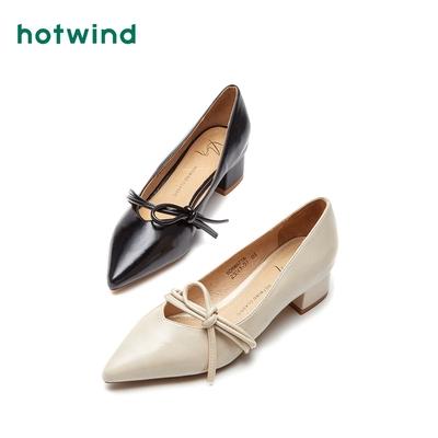 热风2018年秋季新款小清新粗跟女士皮鞋尖头浅口单鞋潮H08W8716