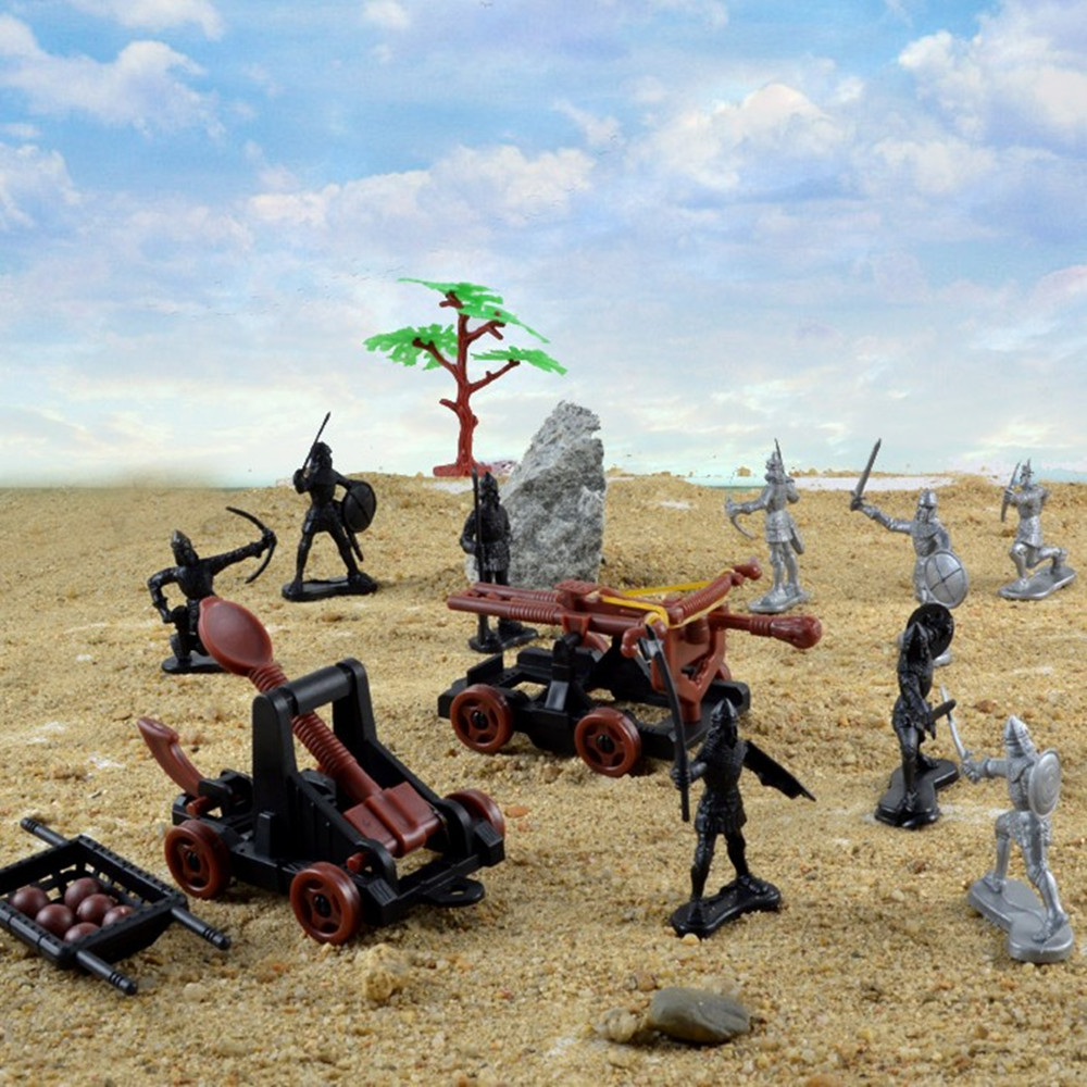 儿童玩具古代兵人士兵战斗军事战争骑兵剑士斧弓盾兵怀旧军人模型