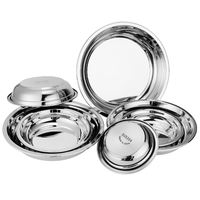 Guofeng thick 304 stainless steel plate round dish home dining dish dish creative tray cool skin 锣 flat plate