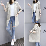 2019 striped cotton and linen small suit female spring and autumn Korean version of the wild suit new seven-point sleeve long loose jacket